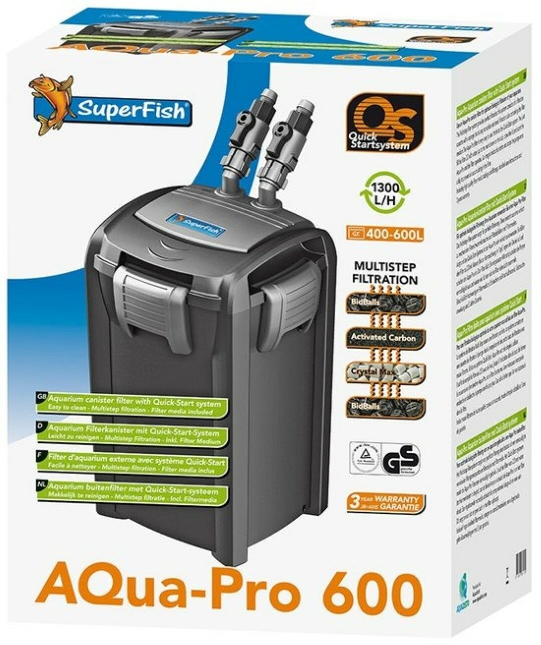 Superfish Aqua Pro 200 400 600 External Fish Tank Filter Aquarium Filter & Media