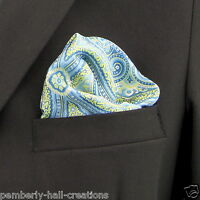 Blue Lime Green & Silver Damask Men's Suit Pocket Square Handkerchief Hanky