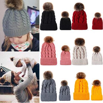 US Baby Kid Warm Winter Cable Knit Wool Beanie Fur Pom Bobble Hat Crochet Cap