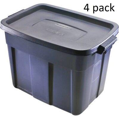 Rubbermaid Rough Neck Rugged Tote STORAGE BOX CONTAINER Black 18-Gallon 4 ct