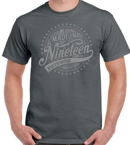 Fabriqué en mille neuf cent cinquante neuf 1959 60th Anniversaire Homme Drôle T-shirt 60 ans