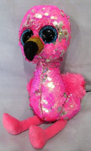 """PINK FLAMINGO Ty FLIPPABLES Sequin Beanie 6/"""" Boos NEW with MINT TAGS PINKY"""