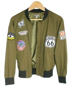 Womens-Juniors-Casting-LA-Small-Olive-Army-Green-Bomber-Jacket-Patches-Route-66