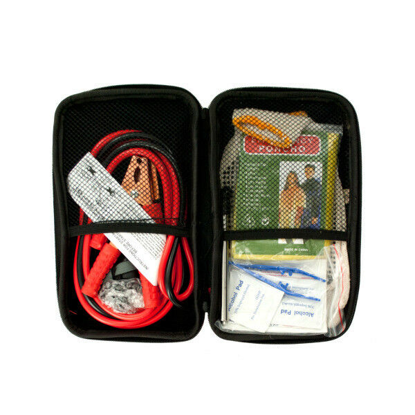 Car Vehicle Road Emergency Kit in Zippered Case Jumper Cables First Aid LED...