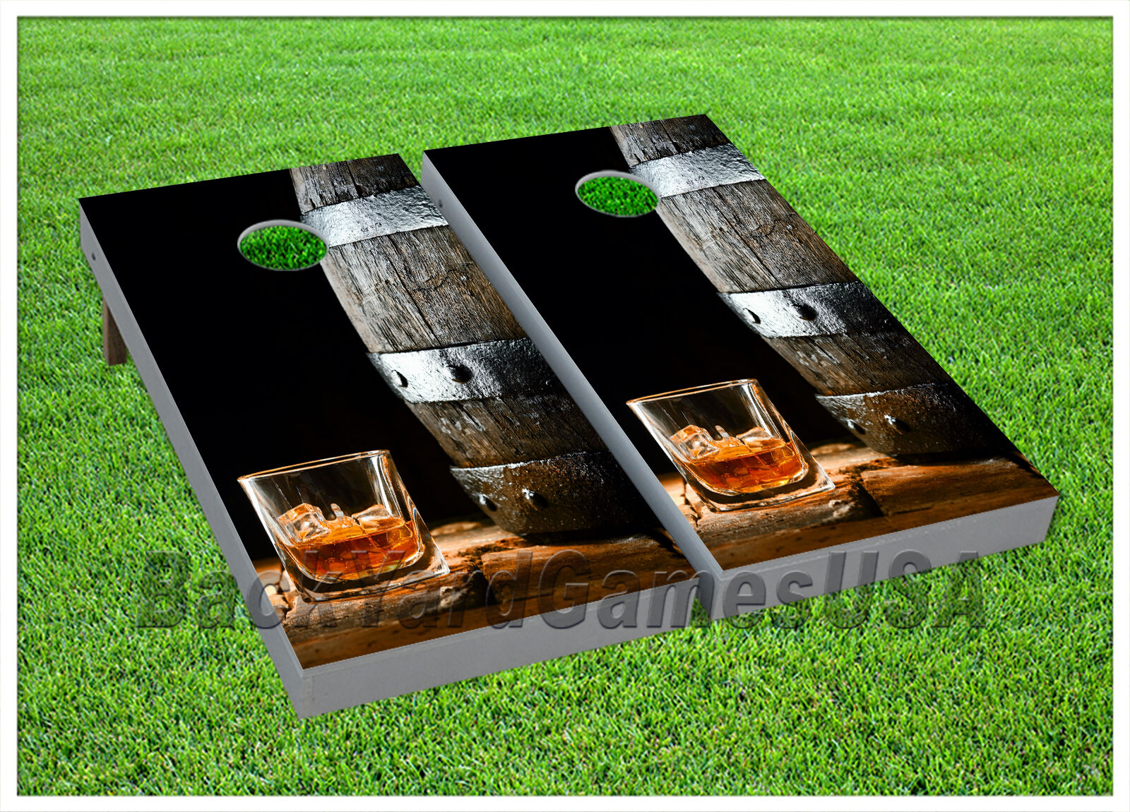 VINYL Old Whisky on Ice CORNHOLE BEANBAG Boards 1041