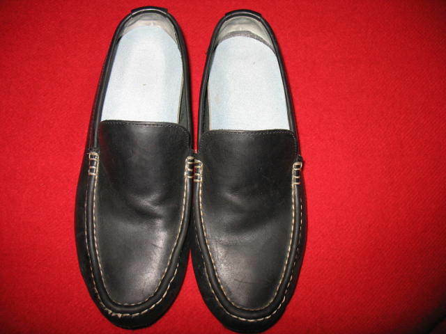 COLE HAAN , MEN'S SLIP-ON LOAFRS DRIVING SHOES, SIZE  10, COLOR  CHARCOAL BLACK,