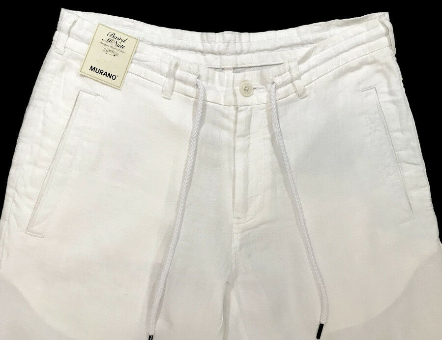 Men's MURANO White LINEN Drawstring Pants 38x30 NEW NWT S85PM726 Cool