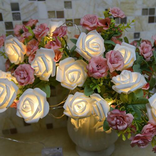20 LED Rose Flower Light String Fairy Christmas Wedding Party Home Garden Decor