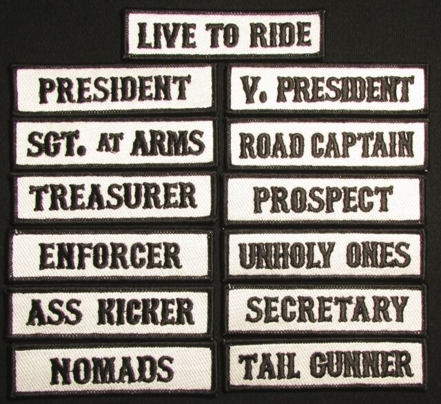PRESIDENT Iron On Patch Vest Title Saying Motorcycle