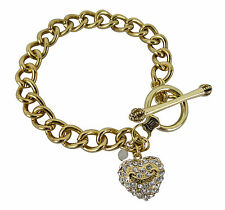 """Juicy Couture 7.5"""" Heart Charm Crystal Toggle Starter Bracelet Gold Tone Gift"""
