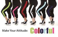 ABA Capri Legging -Solid or Pretty Color Stripe - Cotton- Size 1X-6X Black - NEW