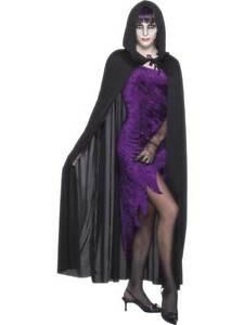hombre-mujer-capucha-Capa-Vampiro-Vampira-Negro-Dracula-Disfraz-de-Halloween