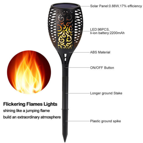 96 LED Solar Torch Light Flickering Dancing Flame Garden Waterproof Yard Lamp CN
