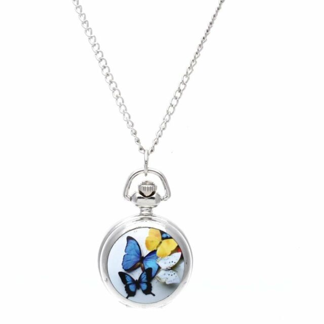 Lady Locket Pendant Quartz Pocket Watch Necklace Chain Butterfly LW