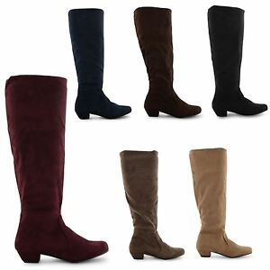 NEW-WOMENS-LADIES-LOW-HEEL-KNEE-HIGH-STRETCH-CALF-ZIP-UP-PIXIE-LONG-BOOTS-SIZE