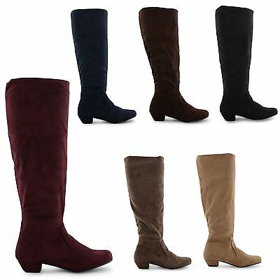 NEW WOMENS LADIES LOW HEEL KNEE HIGH STRETCH CALF ZIP UP PIXIE LONG BOOTS SIZE