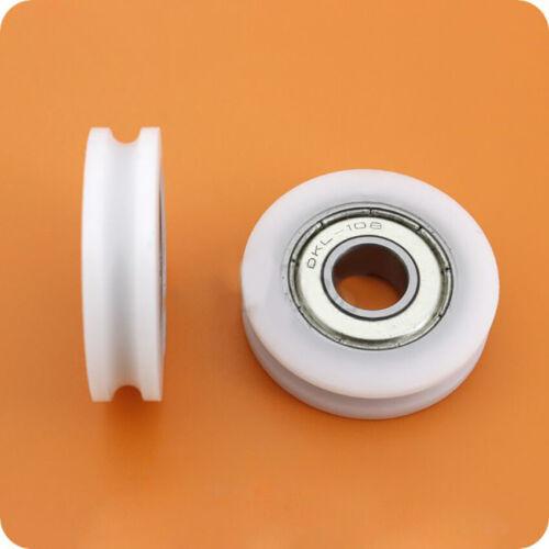 U Groove Nylon Plastic Pulley Deep Groove Ball Bearing Wheel 625ZZ 5x21x7mm