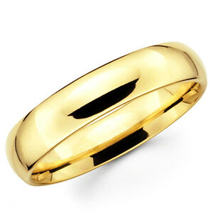 Image is loading 14K-Solid-Yellow-Gold-5mm-Plain-Men-039-