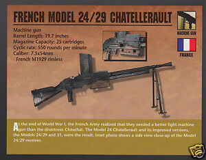 Details about FRENCH MODEL 24 / 29 CHATELLERAULT MACHINE GUN Atlas Classic  Firearms PHOTO CARD