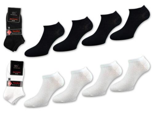 4 bis 20 Paar Damen Sneaker Socken Baumwolle Schwarz /& Weiß Uni Damensocken RS