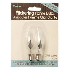 CANDLE BULB, Flickering, 2 pk Glass Bulb 1 watt  for Candle Lamps #6203-29