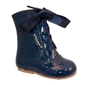 GIRLS SPANISH STYLE BOOTS REAL PATENT LEATHER