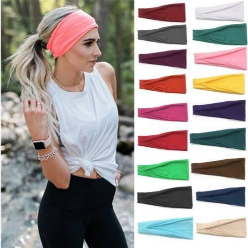 HEADBAND Wide Stretch Sports Yoga Gym Hair Band Wrap Sweatband Womens Mens .N