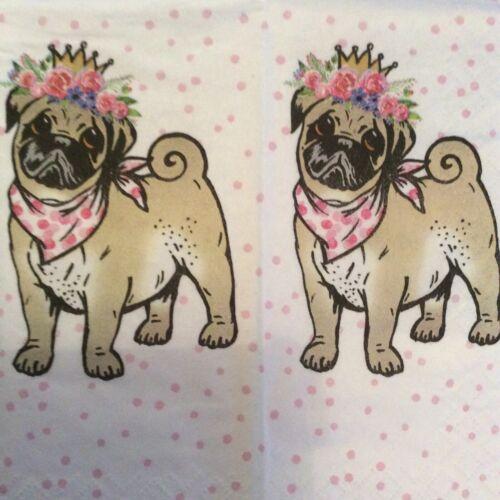 paper napkins decoupage x 2 Pug dog 21cm