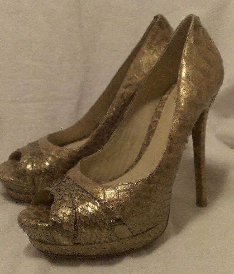 Alexandre Birman Saks Fifth Ave gold Python Platform Heels shoes US 7.5