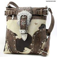 Western Rhinestone Studded Cow Print Messenger Handbag
