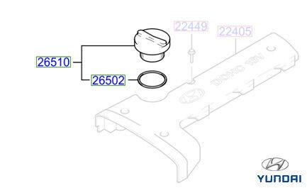 2651026600 Genuine Hyundai i10 i20 i30 Tucson Santa Fe Estate Oil Cap and Seal
