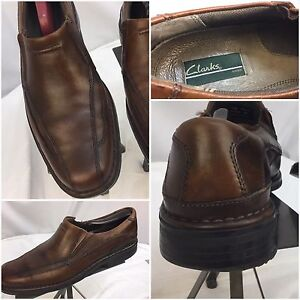 Clark's Loafers Shoes Sz 9 M Brown Leather Slip On EUC YGI D7-15
