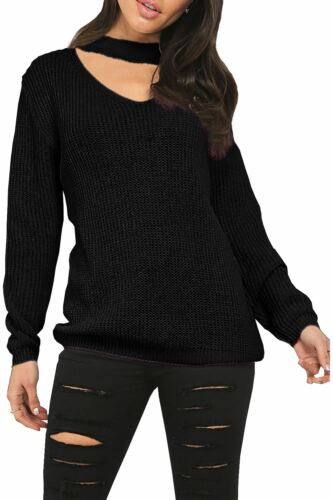 Ladies Womens Chunky Knitted Choker Neck Keyhole Cut Out Jumper Oversized Dress
