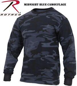 Freizeithemden & Shirts Kleidung & Accessoires Rothco Mens Midnight Blue & Black Digital Camo Long Sleeve Camouflage Tee Shirt