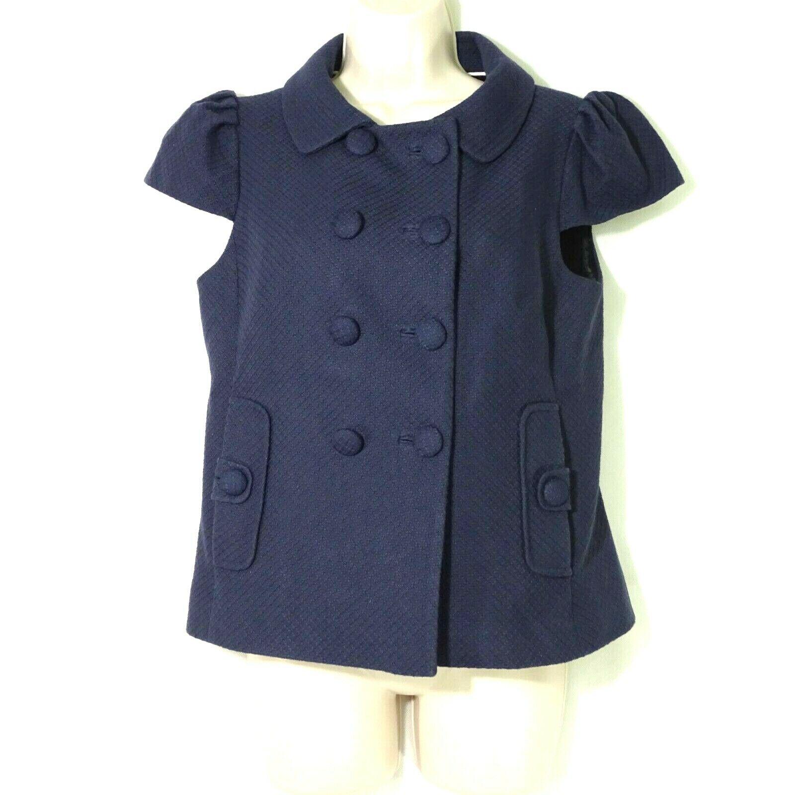 Banana Republic Jacket Top Double Breasted Women Size 6 Blue Texture Cap Sleeve
