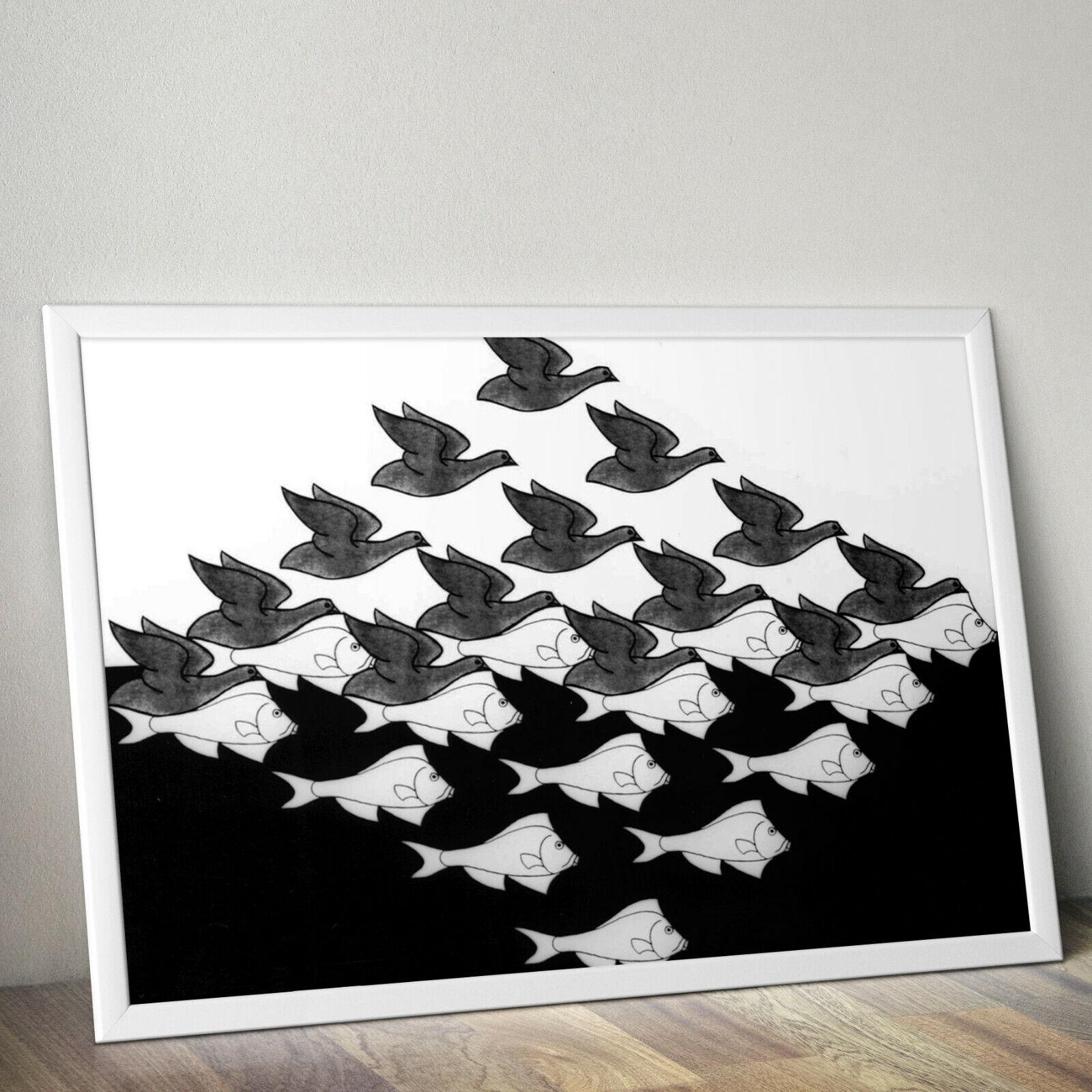 A4 A3 A3+ M C ESCHER Maurits Cornelis Art Surreal Poster Print FRAME OPTIONS