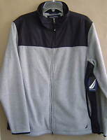 NWT $90 NAUTICA Mens M FLEECE Jacket GREY HEATHER BLACK Coat J14807 FREE SHIP