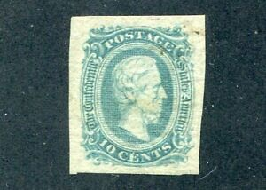 1863 U.S. Scott #11 Ten Cent Confederate States Stamp Used