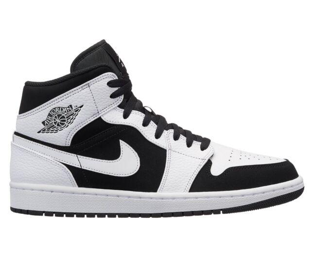 eaa8eaf3633a Air Jordan 1 Mid Tuxedo Mens 554724-113 White Black Basketball Shoes Size  12 for sale online