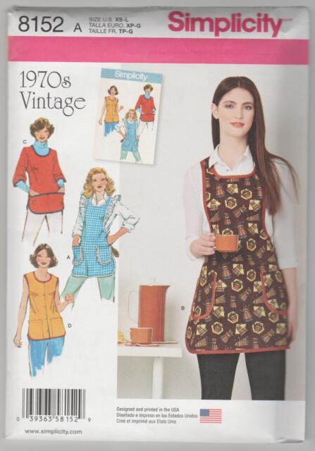 Simplicity Sewing Pattern 8152 Miss Vintage 1970's Style Retro Apron  Sz XS-L