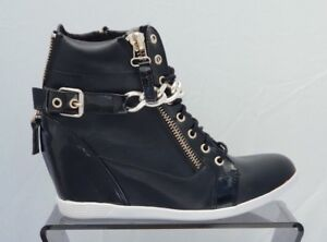 Women's Black Faux Leather Wedge
