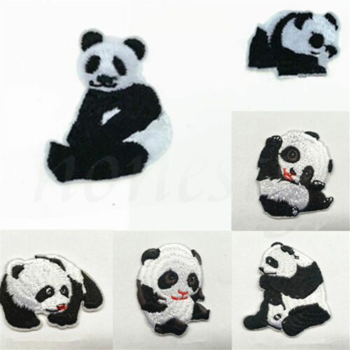 2pcs Panda Animal Cartoon Embroidery Clothing DIY Applique Iron on Patch Sew