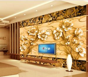 3D golden Carved Flowers 94 Wallpaper Mural Paper Wall Print Wallpaper Murals UK