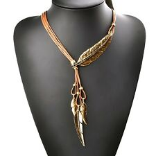 BOHO  BEACH HOLIDAY BROWN FAUX LEATHER BRONZE FEATHER CRYSTALS  NECKLACE