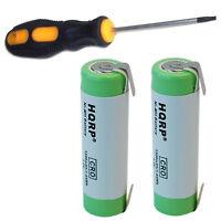 2-pack Batteries For Braun 199-9000 Models Razor Shavers + Screwdriver