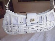 Maxx New York White Genuine Leather East West Satchel Bag