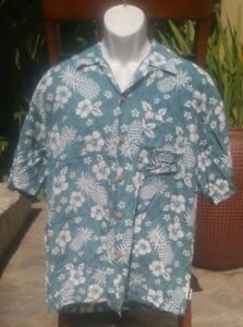 5e5717ce TOES ON THE NOSE Mens Blue Teal White Button Floral Hawaiian Shirt ...