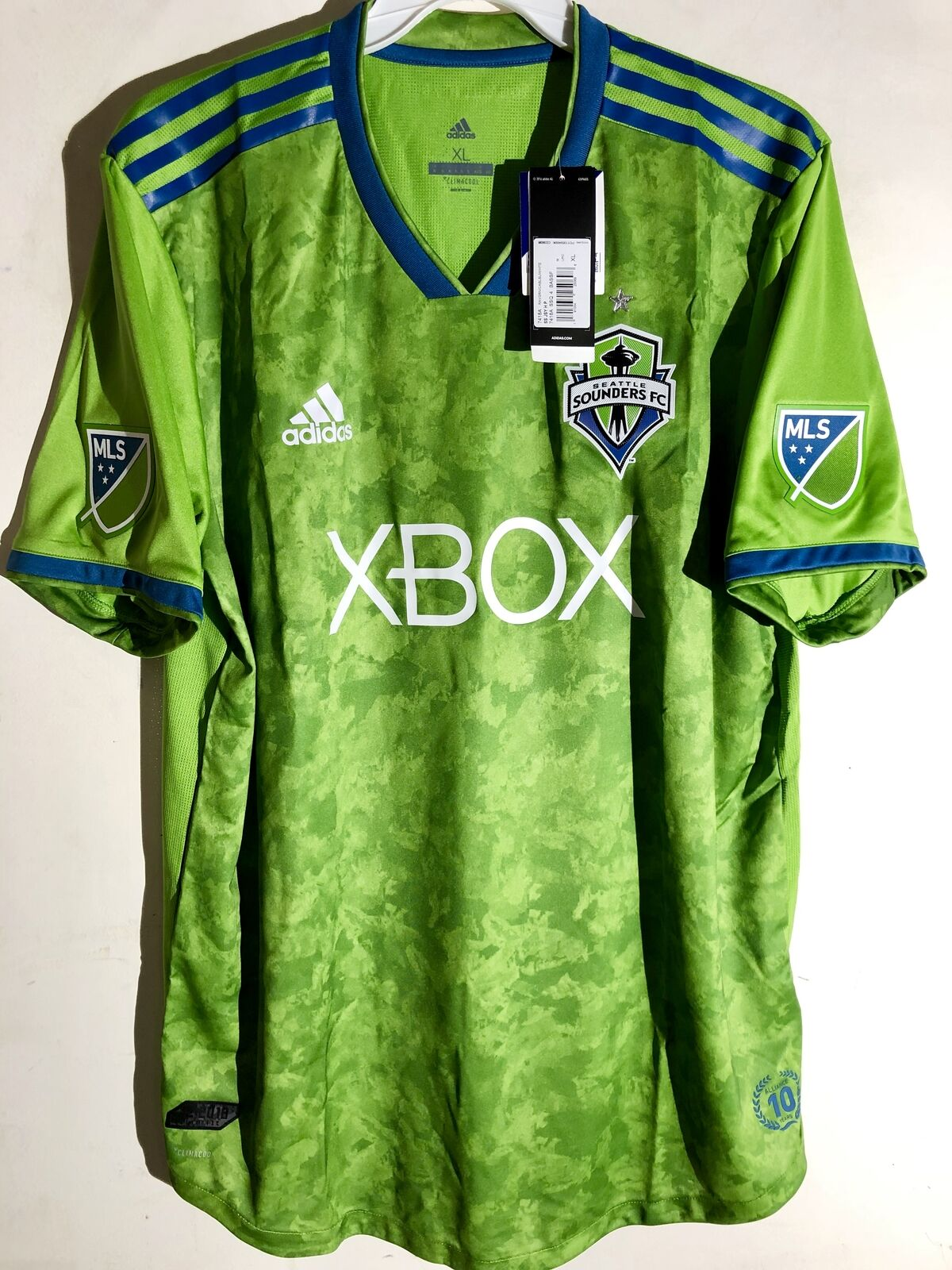 Green adidas MLS Men/'s Seattle Sounders FC Authentic Long Sleeve Jersey
