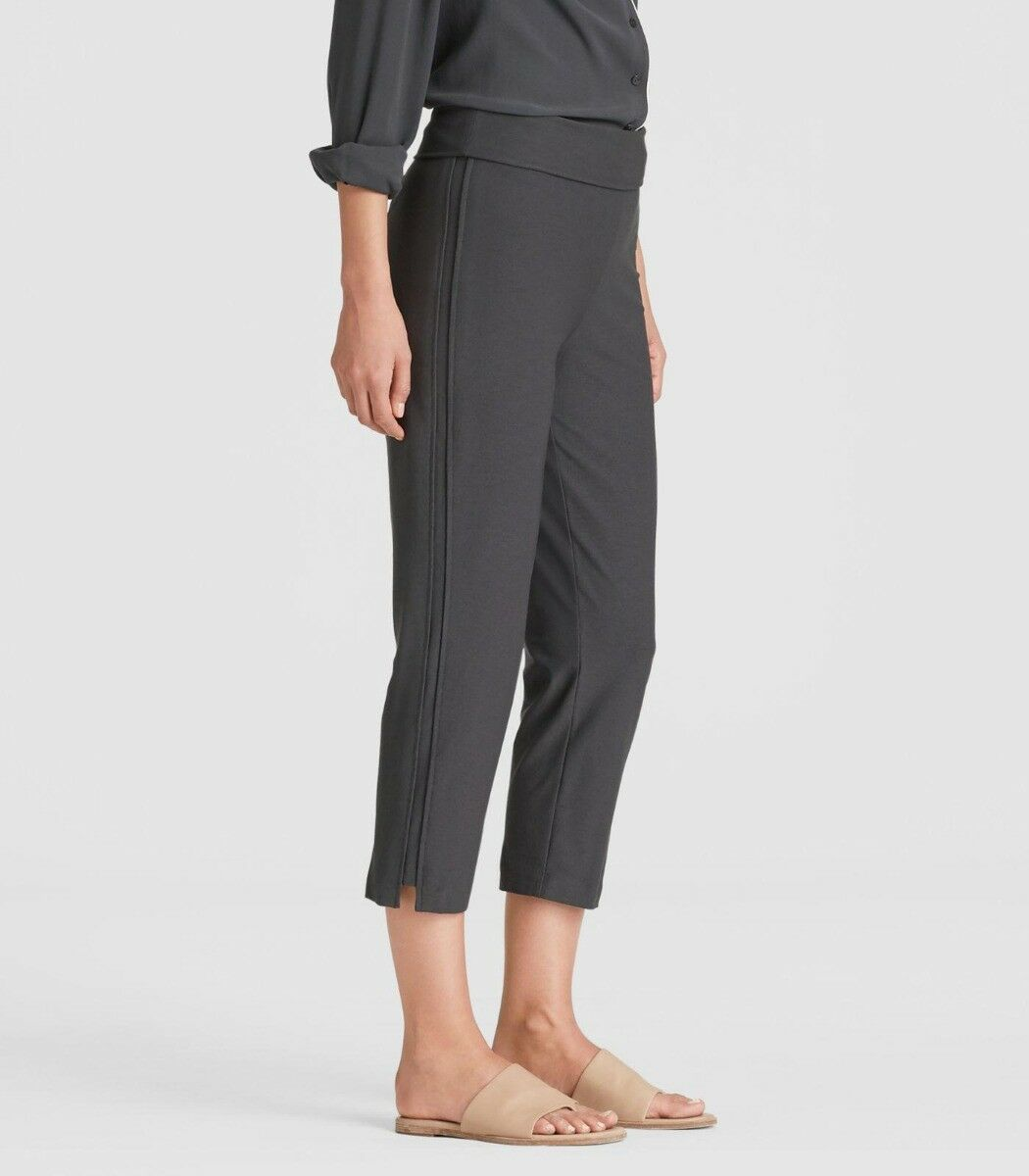 Eileen Fisher Graphite Washable Stretch Crepe Capri Pant Foldover Waist XL NWT
