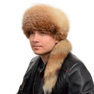 e2137c42089 Genuine Men s Red Fox Fur Trapper Hat With Tail! Natural Fur Warm ...
